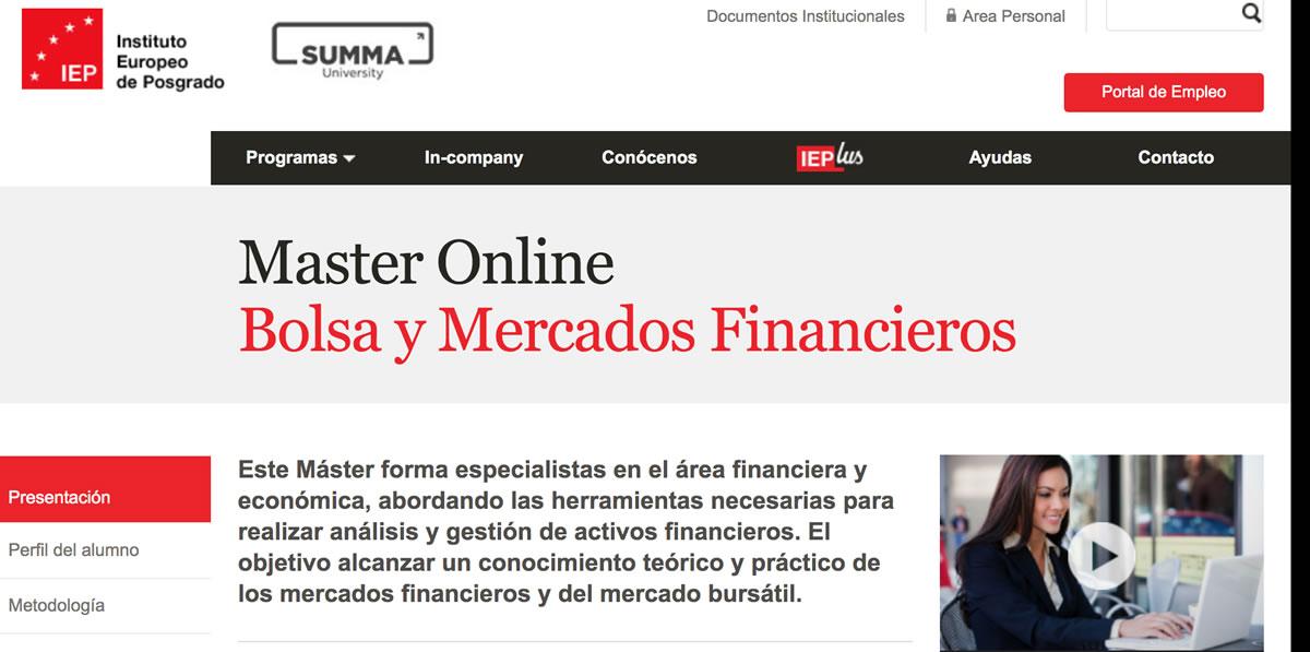 Master Online Bolsa y Mercados Financieros